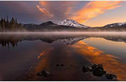 Lake and mountain in Oregon. Image courtesy of the Smithsonian.