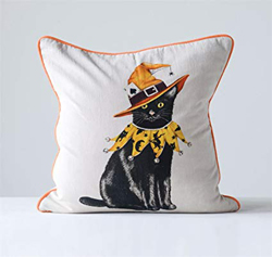 Black cat in witch's hat on pillow. Courtesy of Amazon