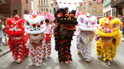 More lion dancers. Southern style costumes.