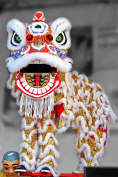 White lion dancer costume for Lunar New Year.