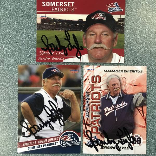 Set of 3 Autographed Sparky Lyle Cards