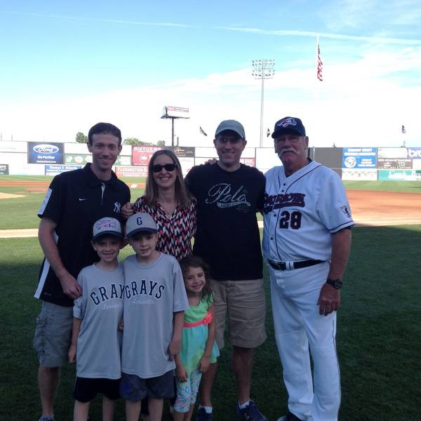 Family Photo with Sparky Lyle on Field