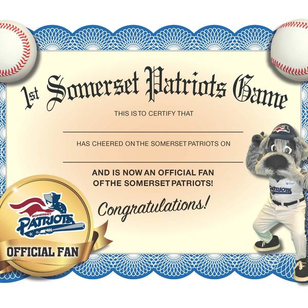 Commemorative 1st Game Certificate