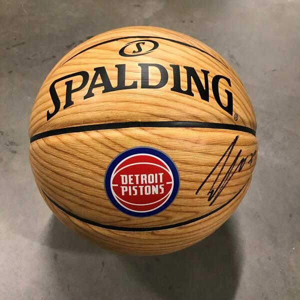 Jerami Grant Autographed Woodgrain Basketball