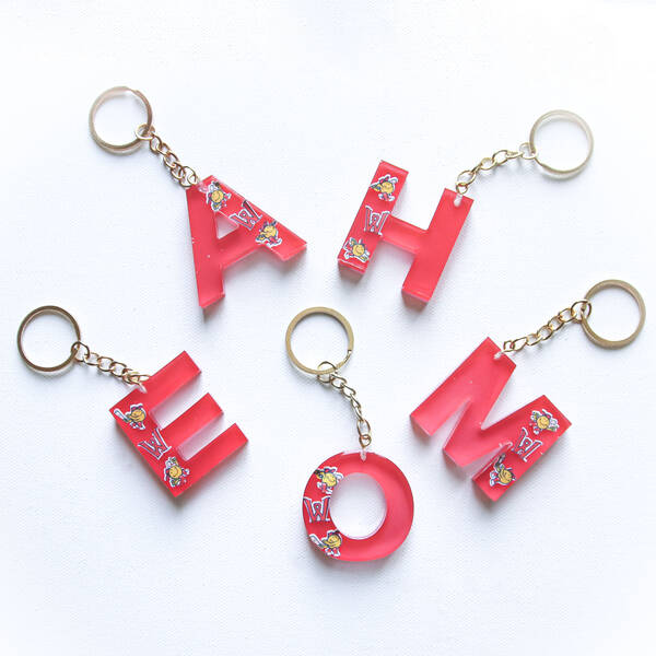 Assorted WooSox Smiley Ball Letter Keychain - Red