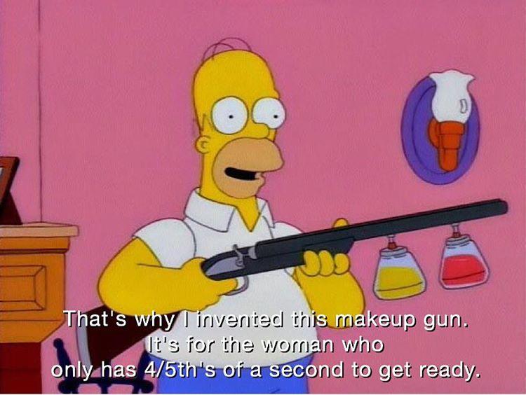 TheSimpsons homer entrepreneur makeupgun loreal cosmetics innovation