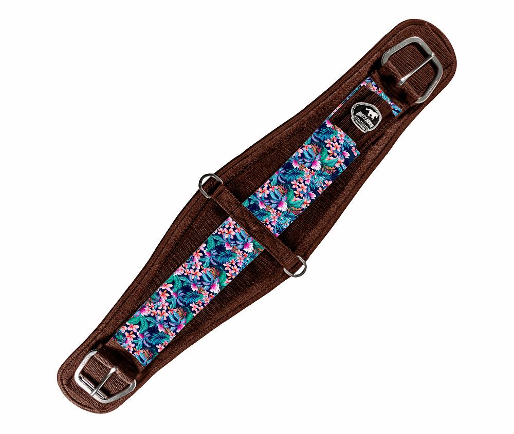 Barrigueira Dry Larga Boots Horse Marrom e Flores Coloridas