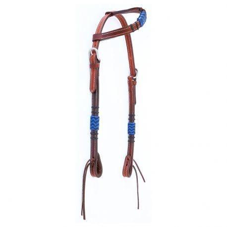 Cabeçada Boots Horse Uma Orelha em Couro Liso com Azul