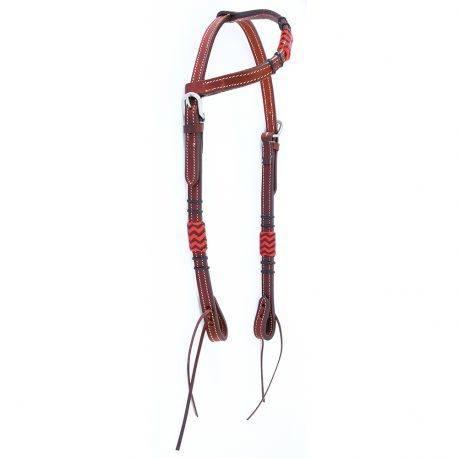 Cabeçada Boots Horse Uma Orelha em Couro Liso com Vermelho
