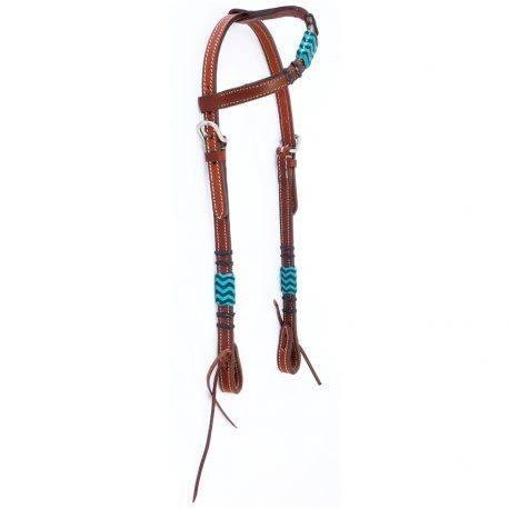 Cabeçada Boots Horse Uma Orelha em Couro Liso com Azul Claro