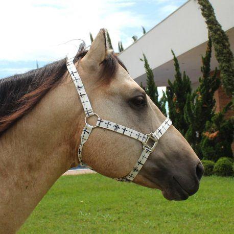 Cabresto Boots Horse Branco com Cruz Preta