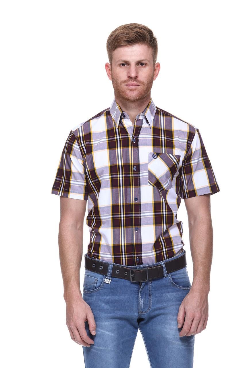 Camisa Masculina Uso Country Manga Curta Vinho com Amarelo