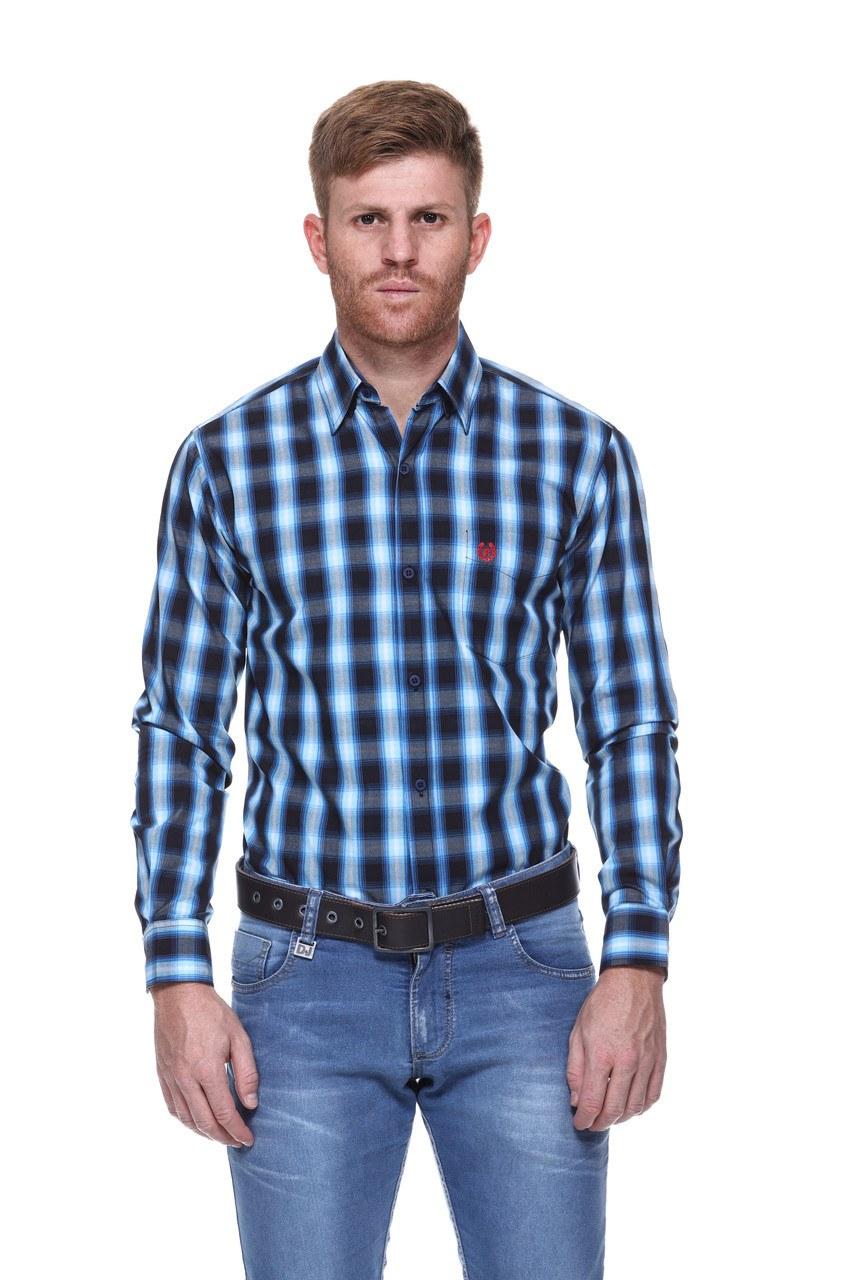 Camisa Masculina Uso Country Manga Longa Azul