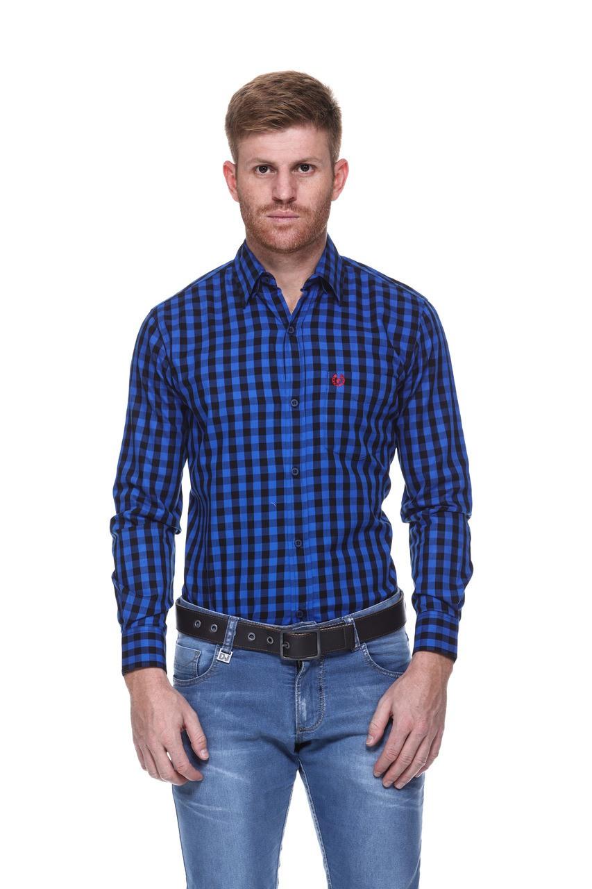Camisa Masculina Uso Country Manga Longa Azul Marinho