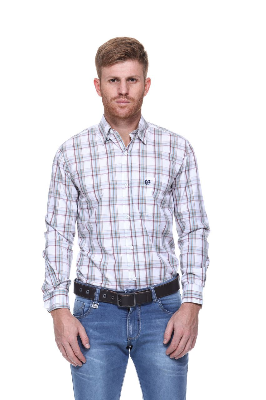 Camisa Masculina Uso Country Manga Longa Xadrez Branco