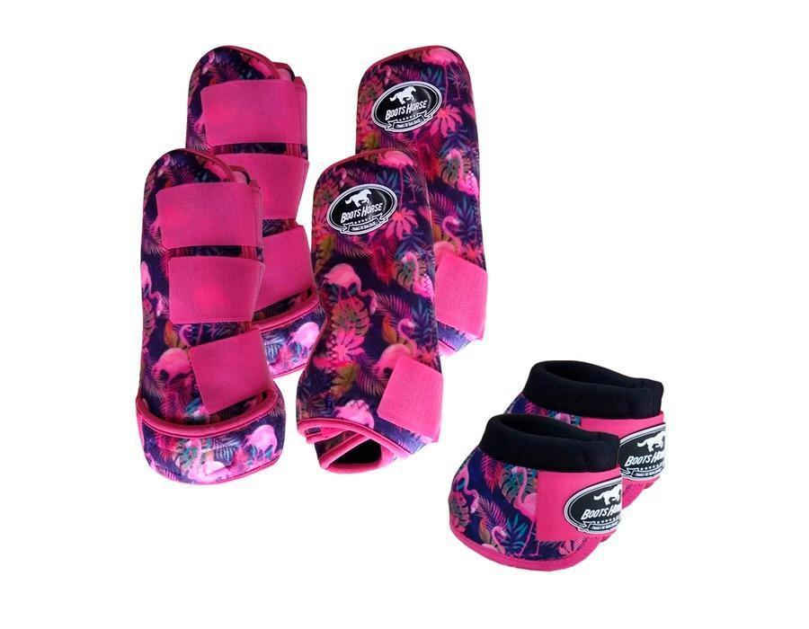 Kit Cloche + Boleteira Dianteira e Traseira Média Boots Horse Flamingos