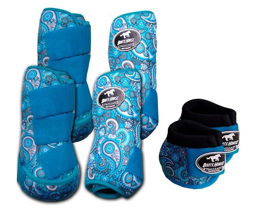 Kit Cloche + Boleteira Dianteira e Traseira Média Boots Horse Paisley Azul
