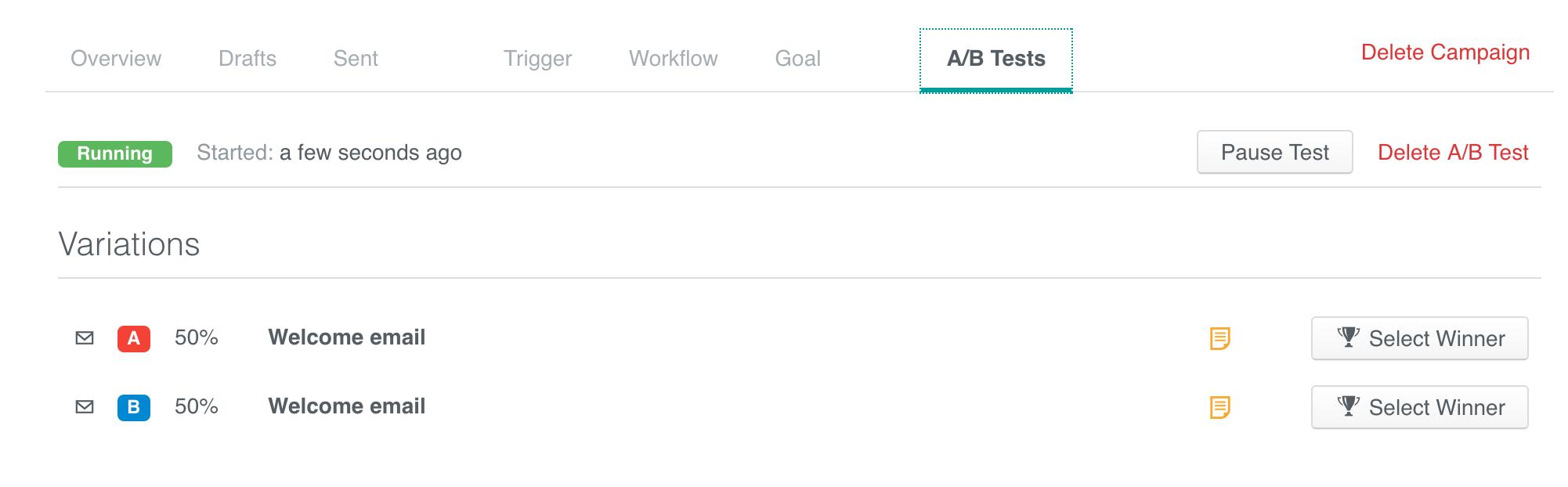 A/B Tests tab