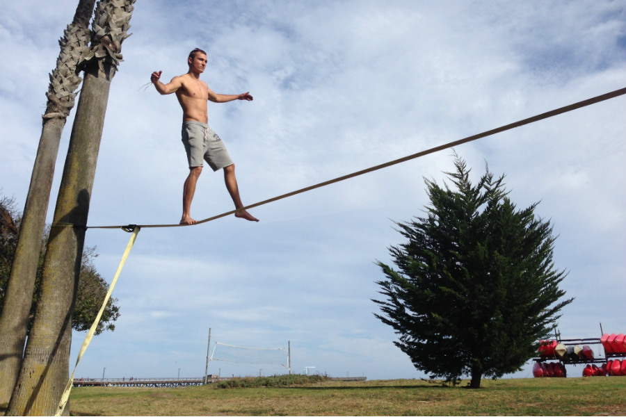 Slack Lining in Goleta, with Adventure Programs.