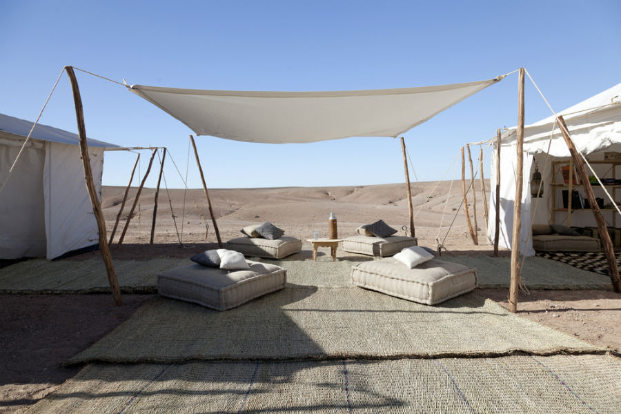 Tented and open-air common areas.