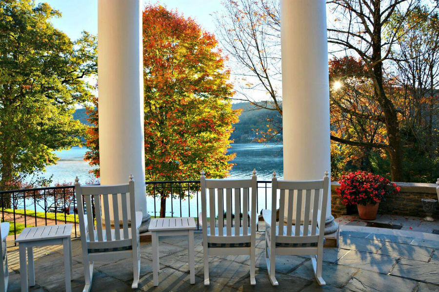 Otesaga Resort Hotel porch and rocking chairs.