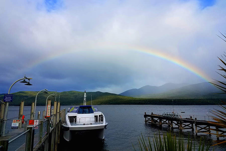 Rainbow over Lake Te Anau.