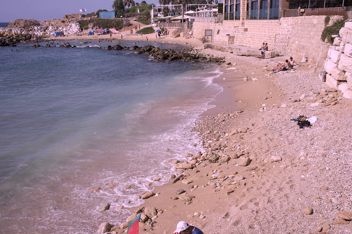 The beach in Caesarea.