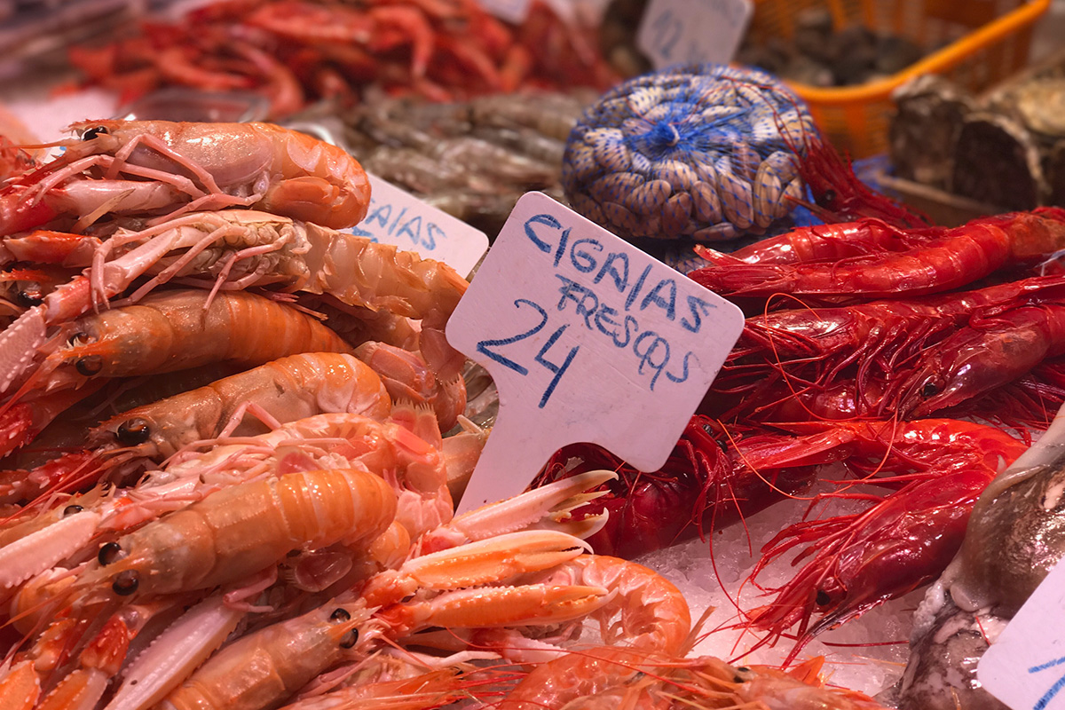 The big, beautiful red prawns at La Boqueria.
