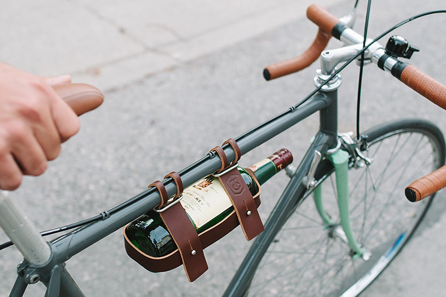 Fyxation Leather Bicycle Wine Carrier