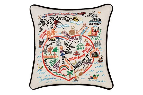 Embroidered City Pillow