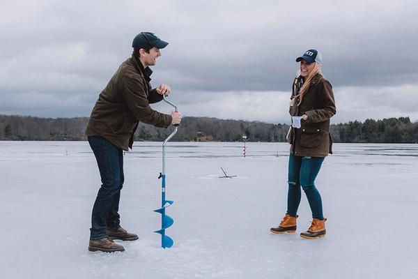 Ice fishing on Sand Pond in Sullivan County, New York.