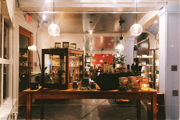 Looking in the window of Evolve Apothecary. Photo courtesy of Evolve Apothecary.