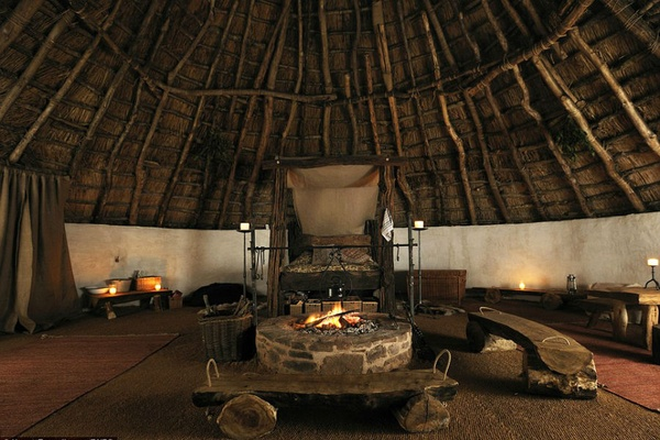 It took a family in England six months to build this Iron Age hut. Now taking reservations. Photo courtesy of Upcott Roundhouse.