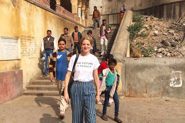 Carol Miltimore at Galtaji in Jaipur, India.
