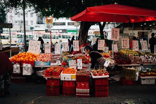 A street market stall in Hong Kong