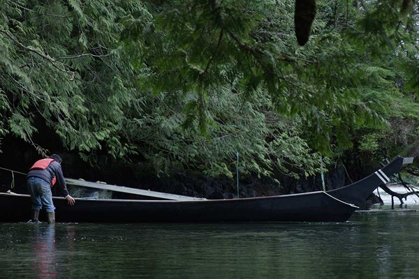 Joe Martin with one of his canoes in Clayoquot Sound.