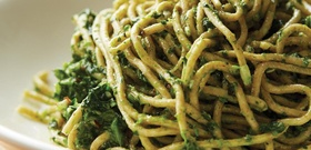 Cook Like a Downtown Italian: A Recipe for Whole Wheat Spaghetti with Broccoli Rabe Pesto