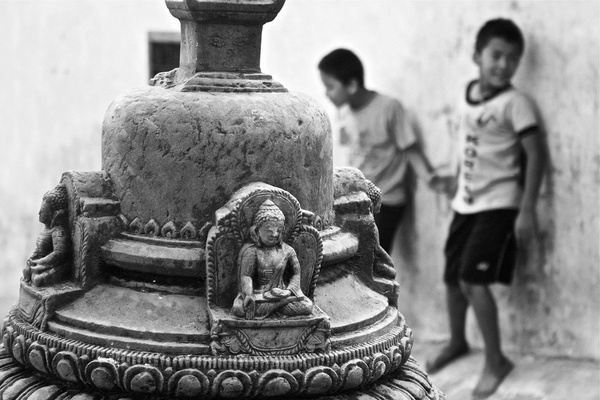 Children playing at Swayambhu in Kathmandu, Nepal