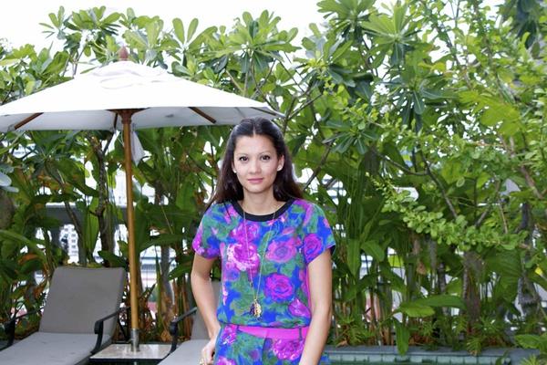 Sasha, among the bamboo.