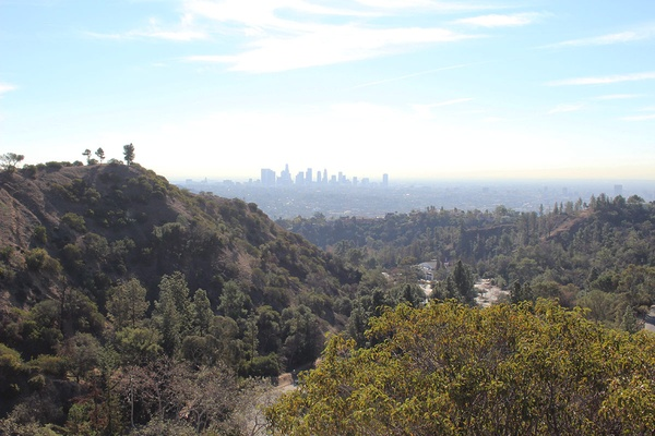 The view of Downtown LA from the Hollywood Hills.