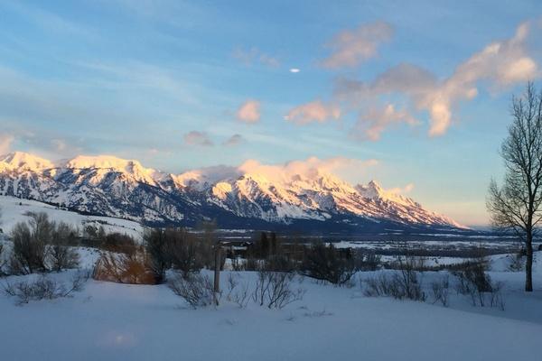 Sunrise over the Teton Mountains.