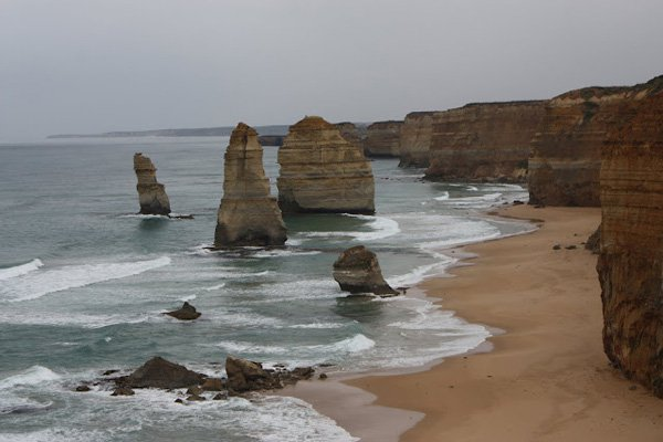 <em>A few of the Twelve Apostles on the Great Ocean Road.</em>