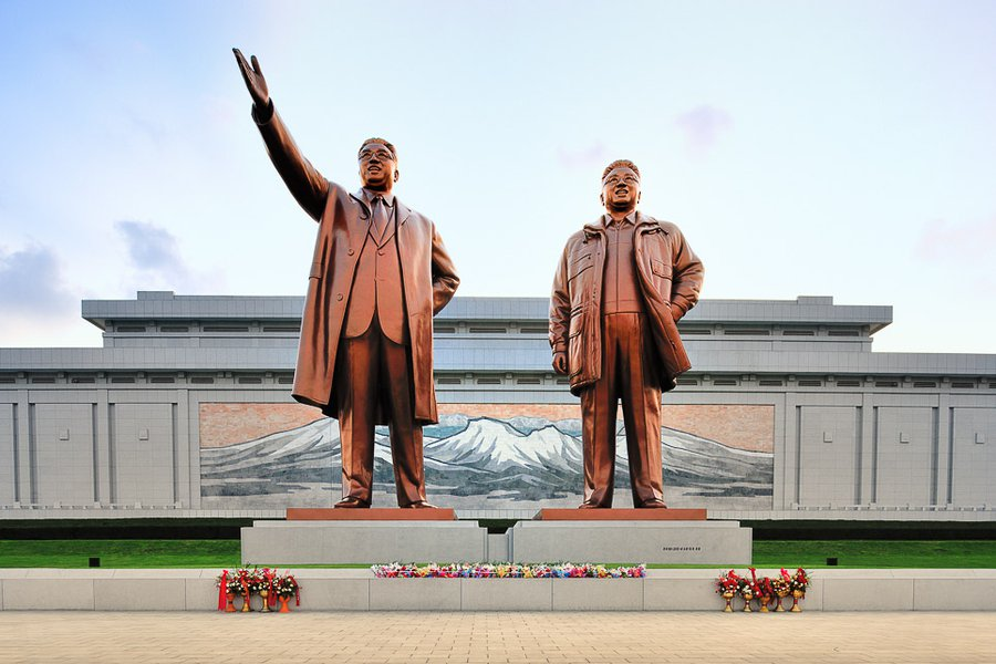 Kim Il-Sung and Kim Jong-Il at Mansudae Grand Monument