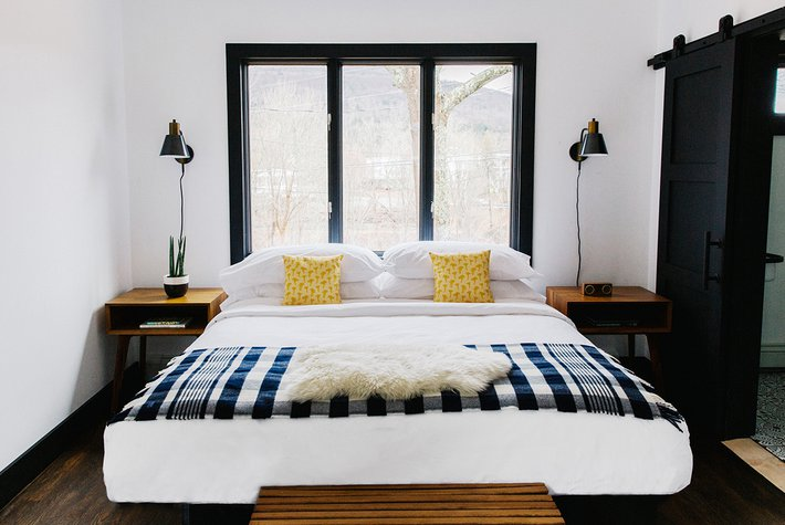 A guest room at Eastwind in Windham, New York