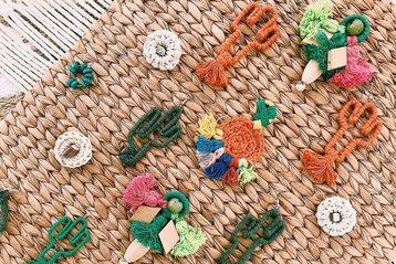 Hilaria handmade earrings at Mercado Organico.
