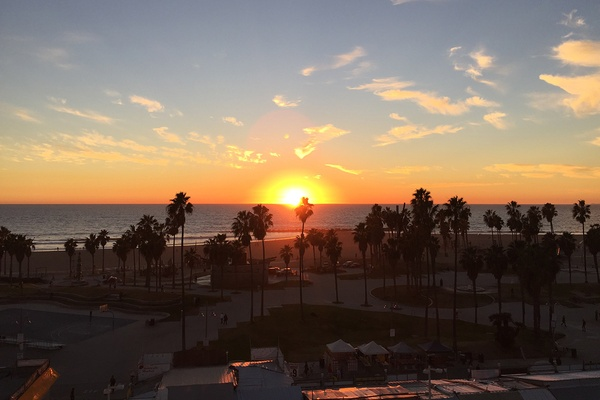 Sunset at Hotel Erwin in Venice Beach