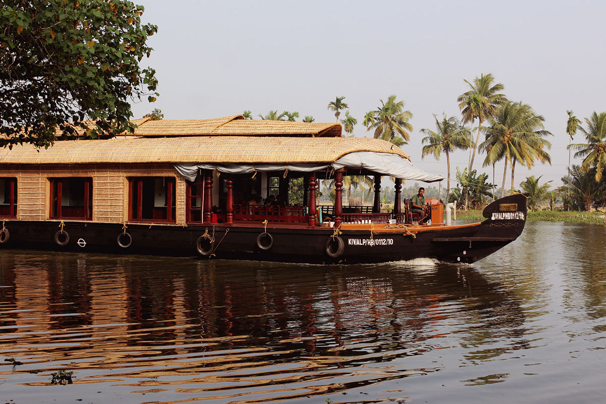 A wooden houseboat in Kerala, India
