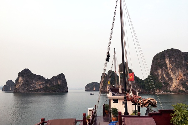 Dragon Peal Junk in Bai Tu Long Bay, Vietnam