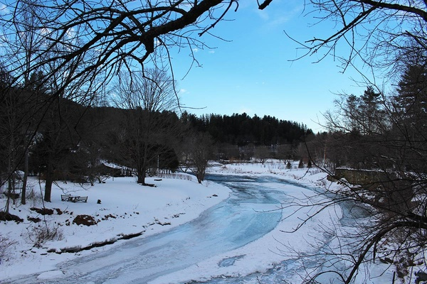 Woodstock, Vermont  Icy River
