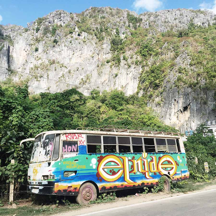 A colorful bus on El Nido, Palawan in the Philippines